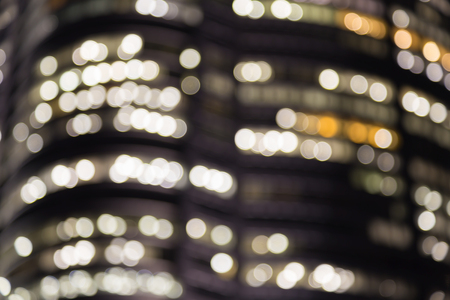 boke: Blurred bokeh lights closed up office building window Stock Photo