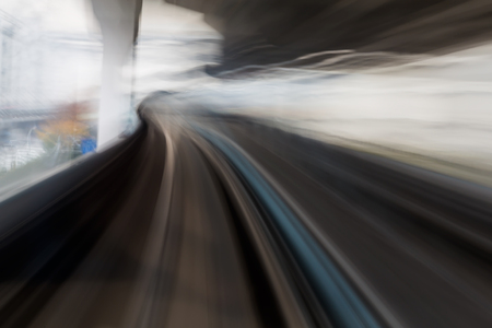 monorail: Moving motion blurred of Monorail travel into tunnel