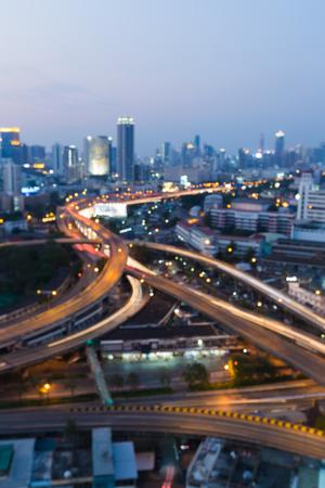 interchanged: Blurred city interchanged road during twilight