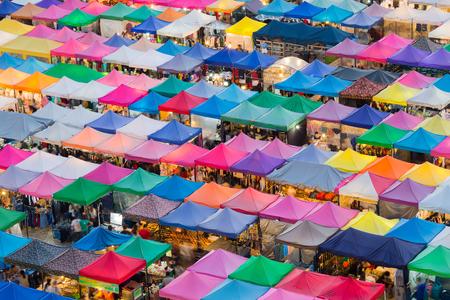 fleamarket: Flea market multiple roof top in Bangkok Thailand, aerial view