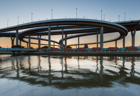 interchanged: Ring highway interchanged river front and reflection Stock Photo