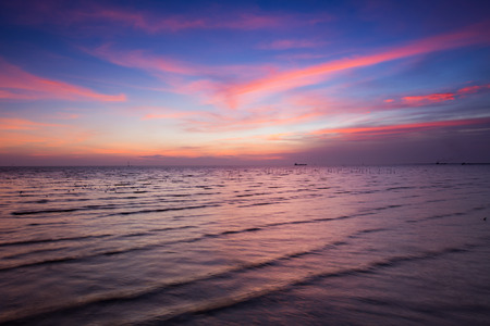 skylines: Beautiful skylines over sea coast during sunset Stock Photo