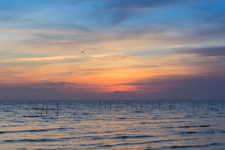 seacoast: Skyline over seacoast after sunset
