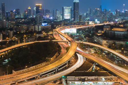 interchanged: Highway interchanged with city downtown night view