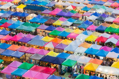 Multiple colour roof top of Weekend market