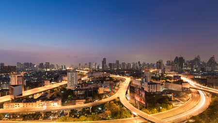 interchanged: Panorama of twilight city downtown highway interchanged Stock Photo