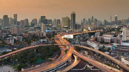 interchanged: City downtown background with highway interchanged during busy hours Stock Photo