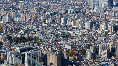 arial: Panorama arial view Tokyo city residence area, Japan