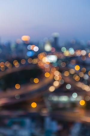 interchanged: Blurred bokeh light city highway interchanged night view