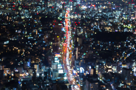natual: Abstract blurred bokeh lights aerial view city road night view