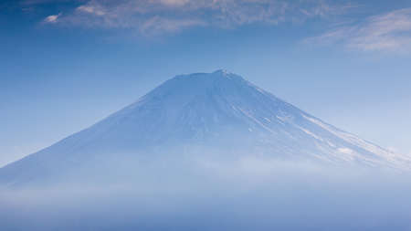 snow covered: Closed up snow covered Mt. Fuji volcano, Japan Stock Photo