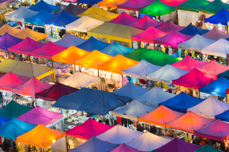 Colourful weekend night market aerial view Archivio Fotografico