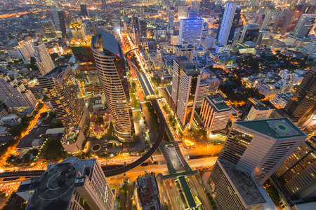 interchanged: Arial view city downtown with train station interchanged, night lights view Stock Photo