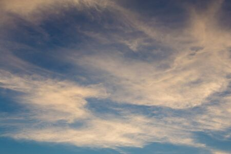 nimbi: White Fluffy clouds in the blue sky, Natural background Stock Photo