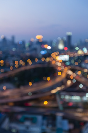 down town: Night bokeh lights highway interchanged and city down town background