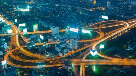 interchanged: Twilight, aerial view highway interchanged long exposure