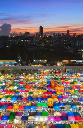 fleamarket: Aerial view, colours full city night market