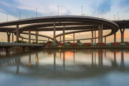 interchanged: Reflection of Bhumibol highway interchanged, Bangkok Thailan Stock Photo