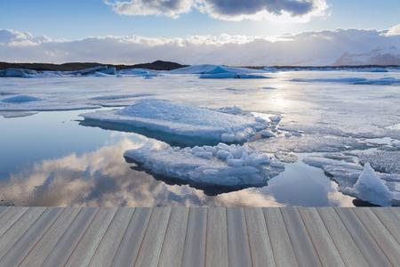 blue lagoon: Opening wooden floor, Beauty Jokulsarlon lake iceberg lagoon Southeast of Iceland