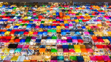 fleamarket: Multiple colour roof top of Weekend night market