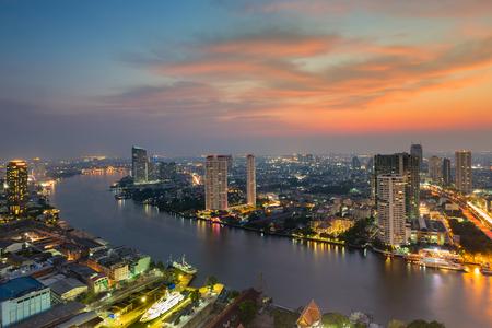 natual: Beauty sunset sky after sunset over Bangkok city river curved