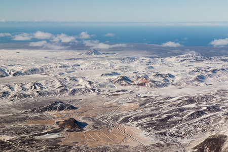 sunshines: Aerial view, Iceland winter landscape
