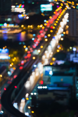 bridged: Aerial view, city bridged cross river, abstract blurred bokeh lights background