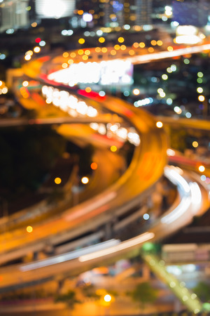 highway night: Abstract blurred bokeh lights, intersection highway night view Stock Photo