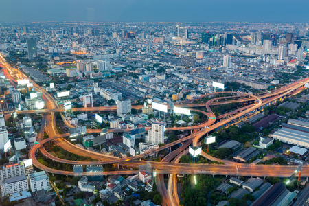 interchanged: Aerial view highway interchanged night view, long exposure