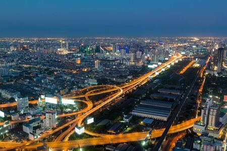 interchanged: Twilight, highway interchanged night view, aerial view, long exposure