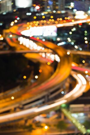 dallas: Blurred bokeh light, closed up highway intersection and curved, night view Stock Photo