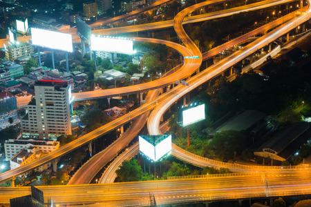 interchanged: Aerial view night lights over highway interchanged
