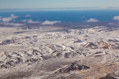 sunshines: Aerial view natural landscape, winter in Iceland Stock Photo