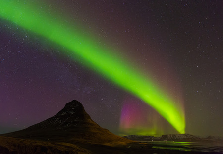 northern light: Northern Light Aurora borealis at Kirkjufell Iceland with fully start in the sky