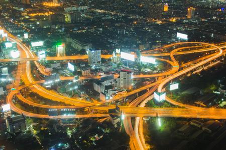 interchanged: Aerial view, highway interchanged night view