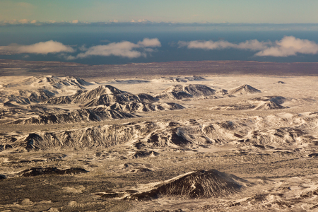 sunshines: Winter landscape, aerial view snow mountain, Iceland Stock Photo