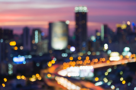 interchanged: Abstract blurred bokeh, city and highway interchanged lights night view