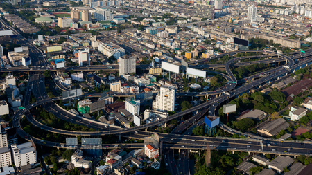 highway interchange: Aerial view, city downtown and highway interchange, Bangkok Thailand