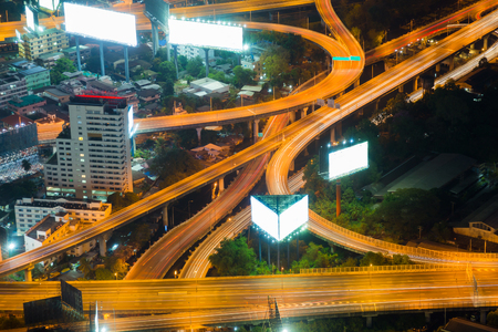 interchanged: Top view highway interchanged, long exposure night view Stock Photo
