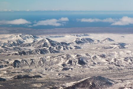 sunshines: Beautiful aerial view mountain snow covered natural background, Iceland
