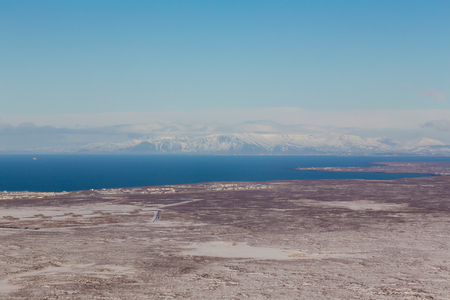 sunshines: Aerial view Iceland natural landscape with clear blue sky background