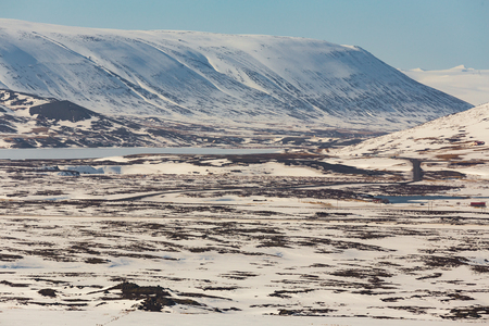 sunshines: Winter landscape background, Iceland natural snow covered mountain background