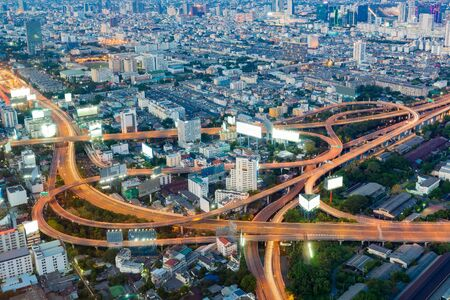 interchanged: Aerial view, highway interchanged during busy hours Stock Photo