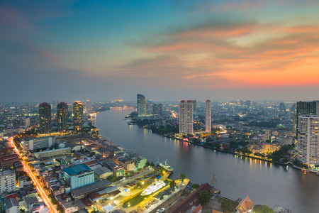 natual: Sunset over River curved in Bangkok city, Thailand
