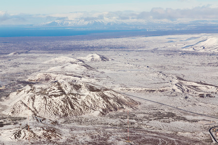 sunshines: Iceland natural landscape, aerial view skyline Stock Photo