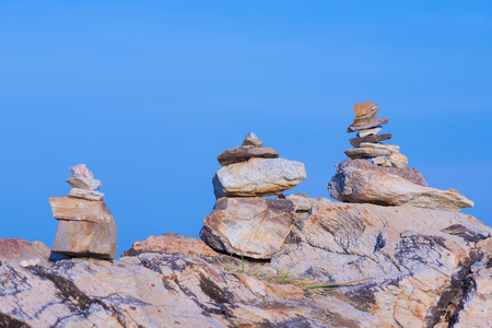 stack stones: Stack stones with clear blue sky background, natural landscape background