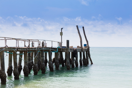 hatteras: Wooden walkway leading to the ocean, natural skyline background Stock Photo