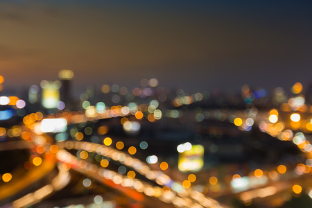 interchanged: Abstract blurred lights, city downtown and interchanged road night view