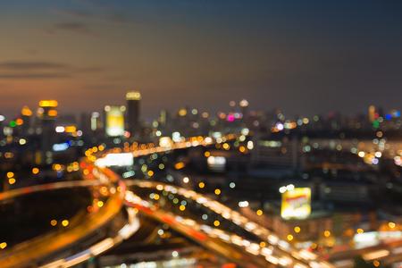 interchanged: City blurred lights background and highway interchanged, abstract background Stock Photo