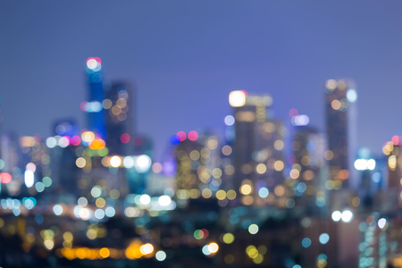 dallas: Blurred bokeh night view, office building lights during twilight
